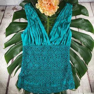 EUC! Bebe Green Satin Crochet Top